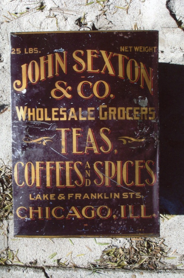 "John Sexton & Co. 25 lb. tin, ""Teas, Coffees & Spices"""